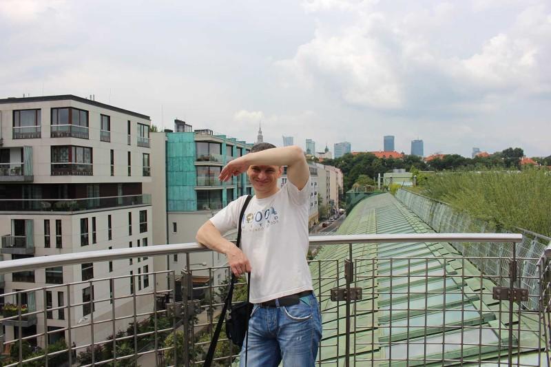 Вид на дома с крыши Варшавской библиотеки